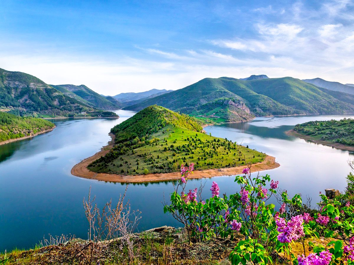 Vacha Dam in Magic Rhodope Mountaints during spring season