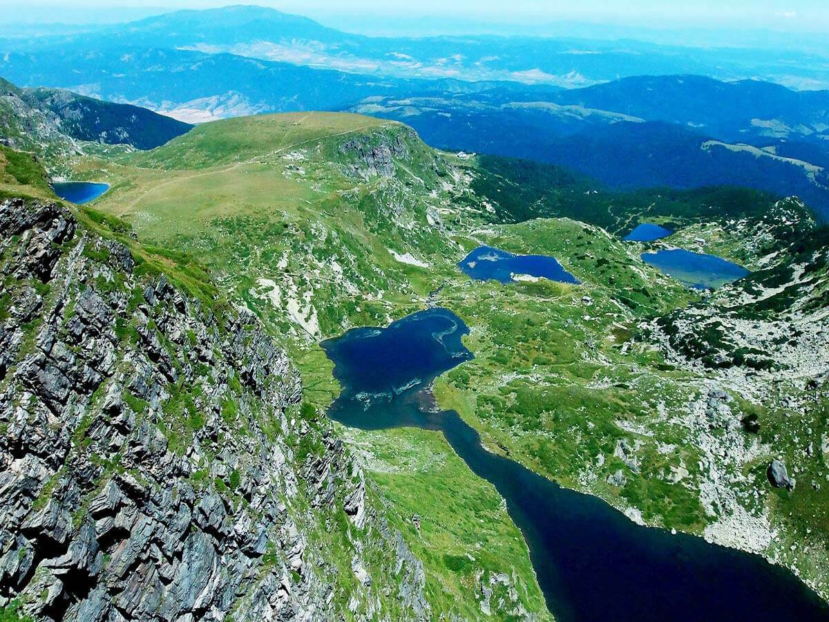 Panorava view of the seven Rila Lakes in Rila Mountains