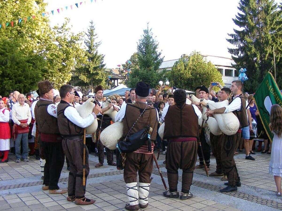 Bulgarian bagpipe musicians during the Plum Festival in Troyan and Oreshak, Bulgaria
