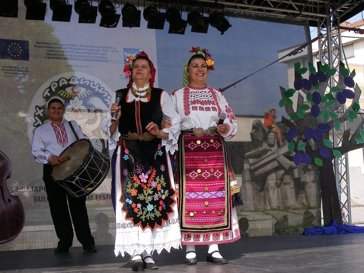 Bulgarian folk musicians singing during the Plum Festival in Troyan and Oreshak