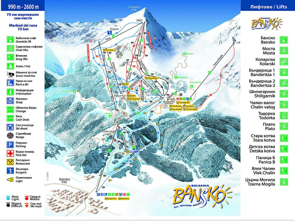 Bansko ski map with great variety of slopes for beginner skiers