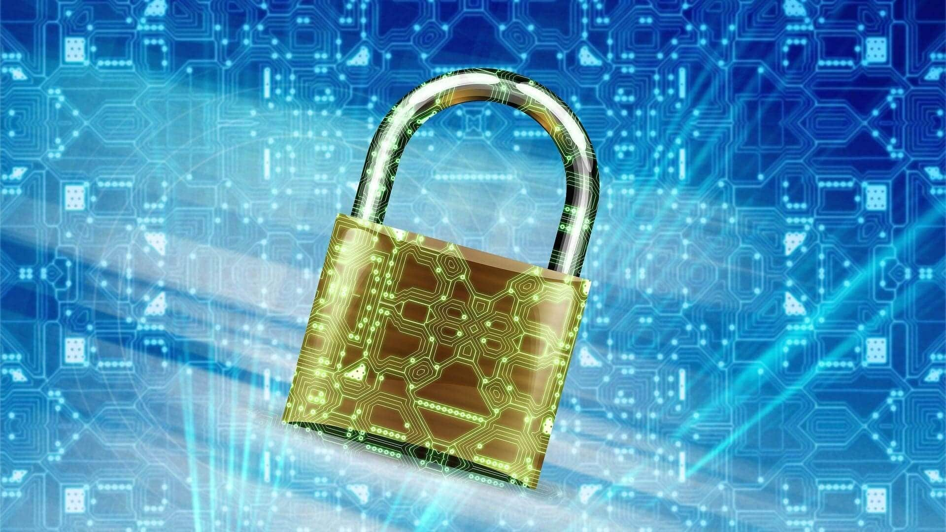 High modern padlock in yellow colour in blue background