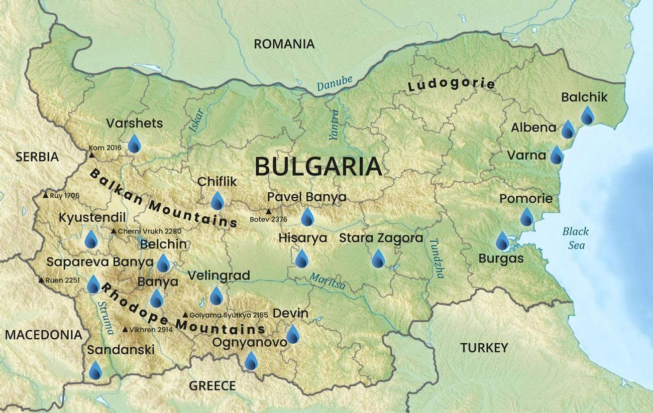 Image with all spa destinations and hot springs in Bulgaria indicated with the logo of Spa Tours Bulgaria