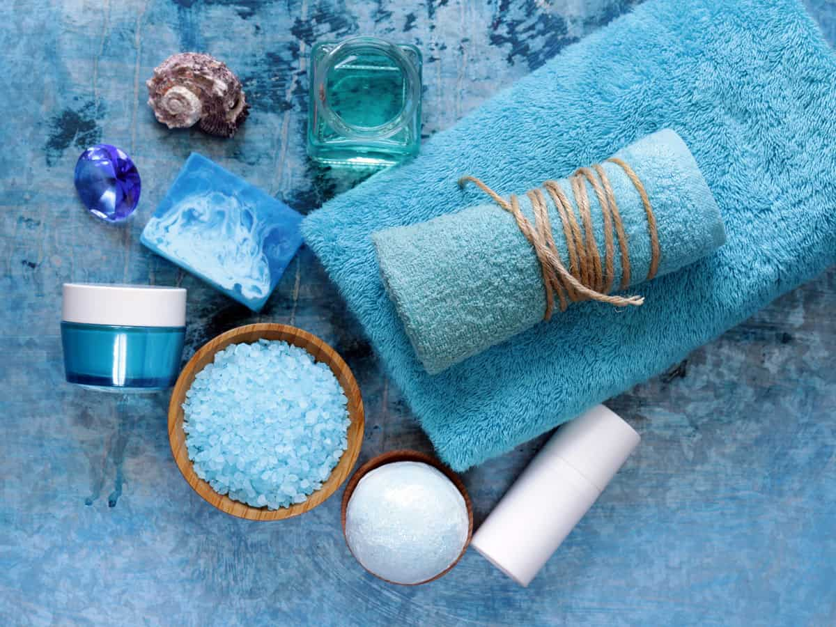 Relaxing blue accessories of a couple during their Bulgaria Spa Holidays