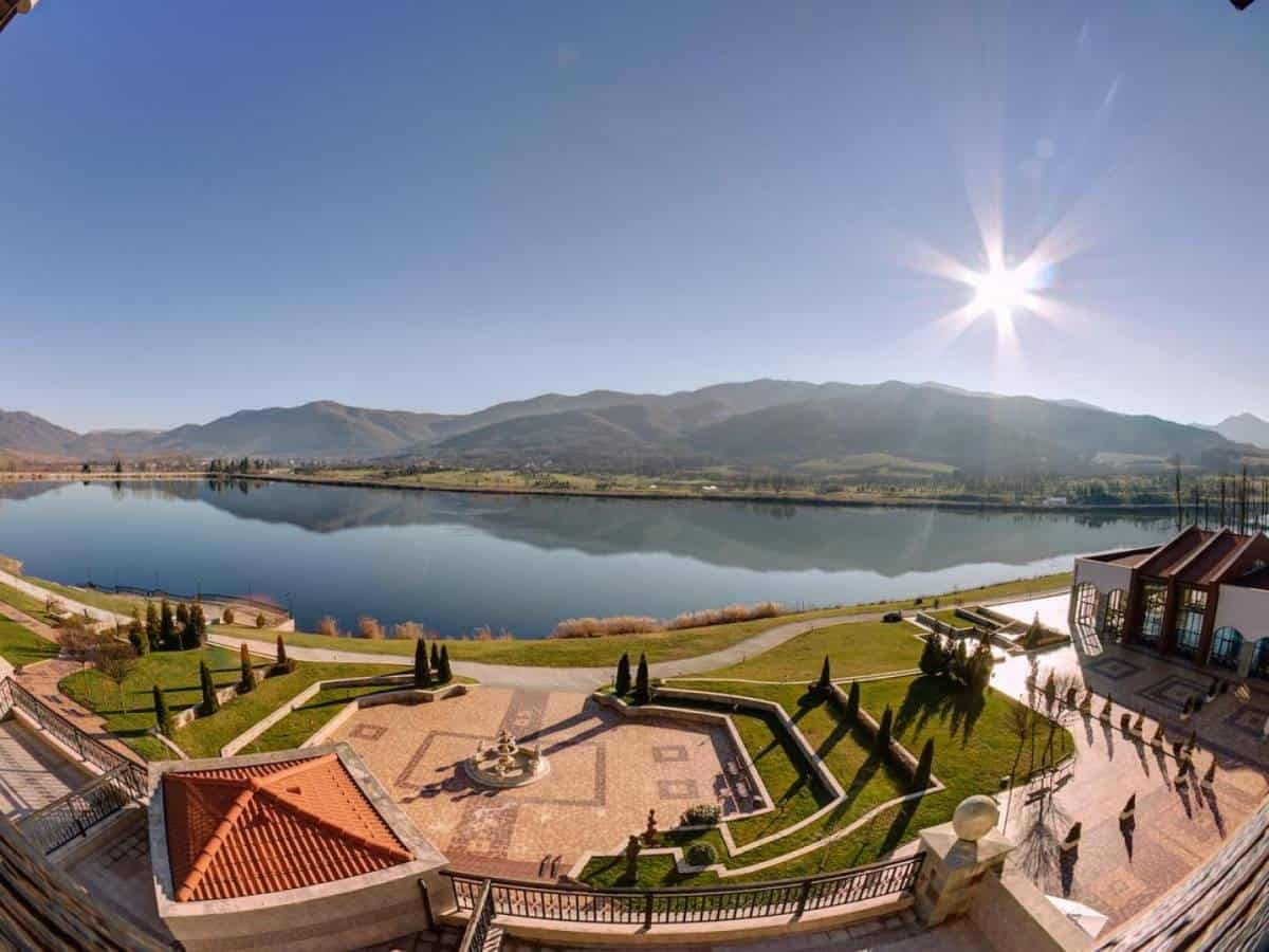 Amazing panorama with a lake of Bulgaria spa hotels