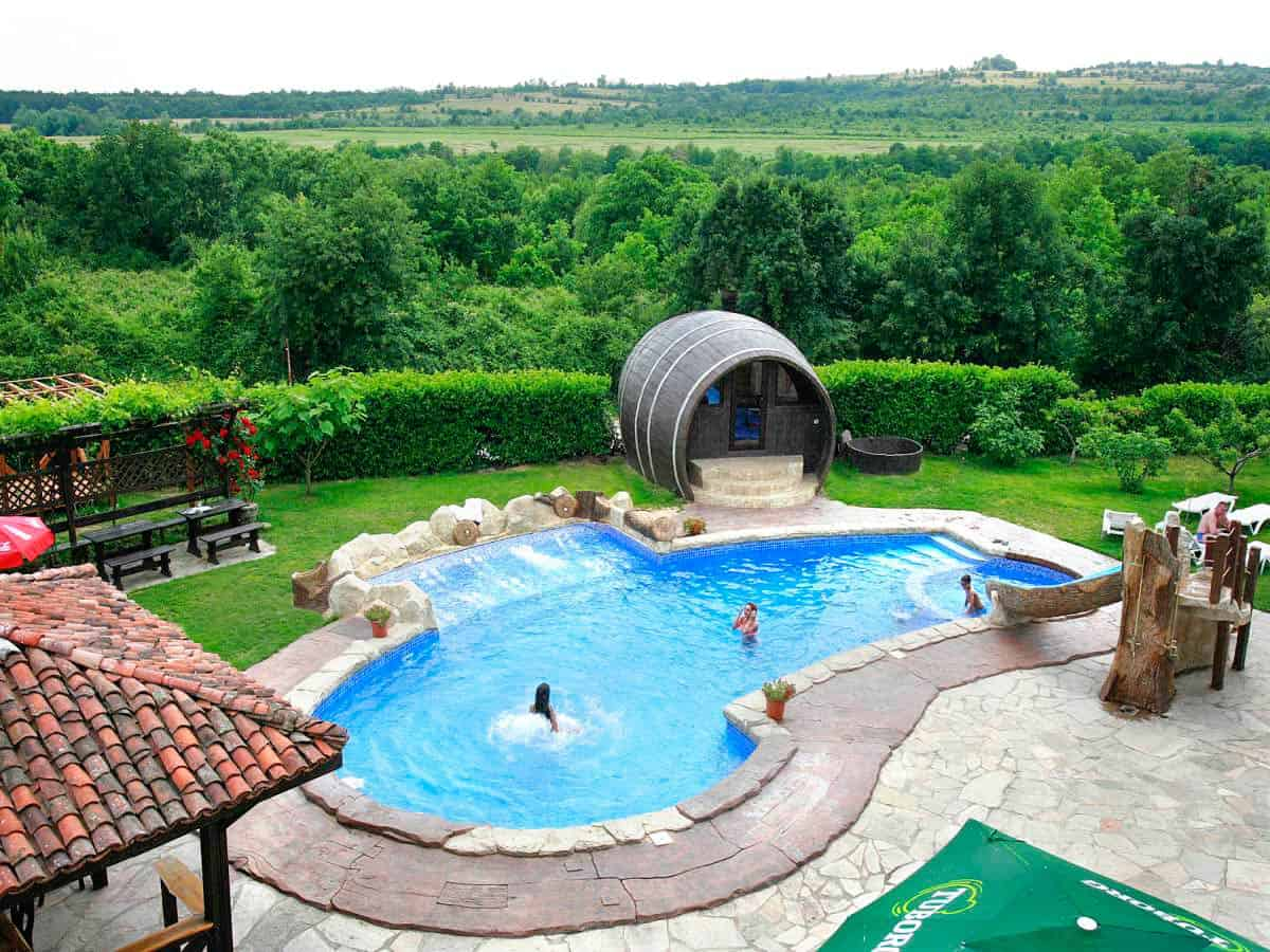 Aerial photo of outdoor swimming pool with spa near Plovdiv, Bulgaria
