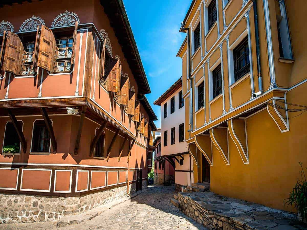 Colourful houses in the Old Town in Plovdiv. They were shot during package tours to Bulgaria.