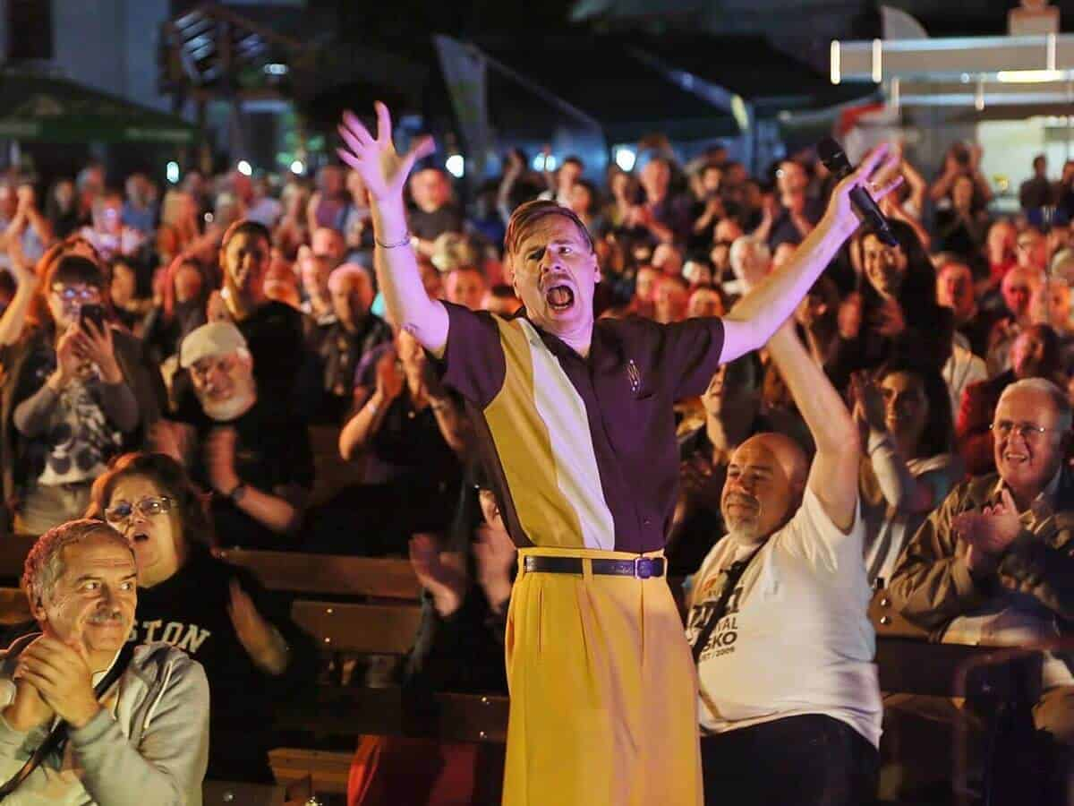 People raising their hands during the Bansko Jazz Fest